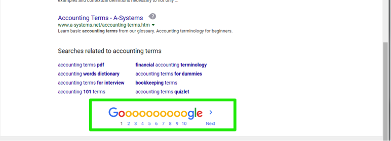 A Google search has been entered for accounting terms, a green box shows how many different pages of results can be displayed.