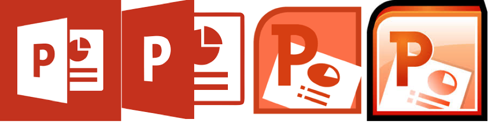 4 different application icons for Microsoft PowerPoint are displayed. The oldest version is on the right and the newest on the left.