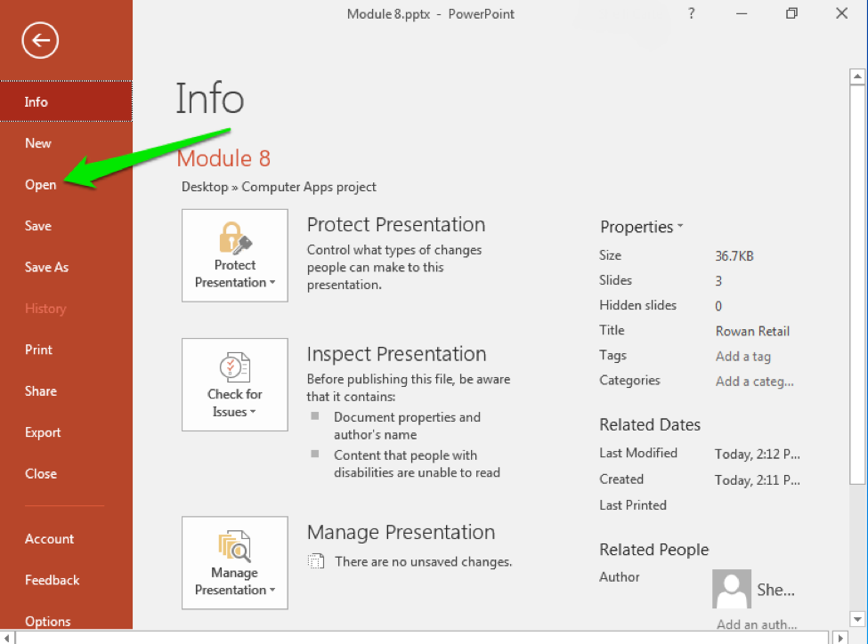 A Microsoft Powerpoint presentation information file is displayed. There is a green arrow pointing to the option to open a pre-existing powerpoint.