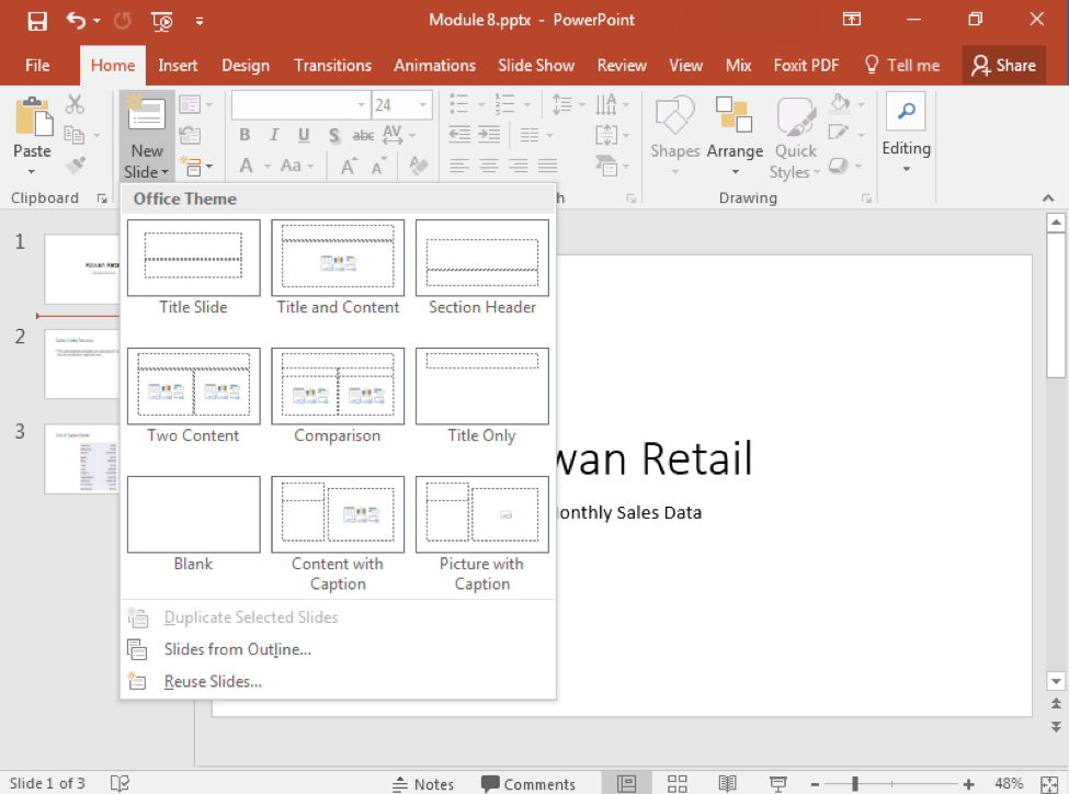 A Microsoft Powerpoint deck is open with 3 slides created. The dropdown menu from the new slide feature is open, displaying the various types of new slide you can insert.