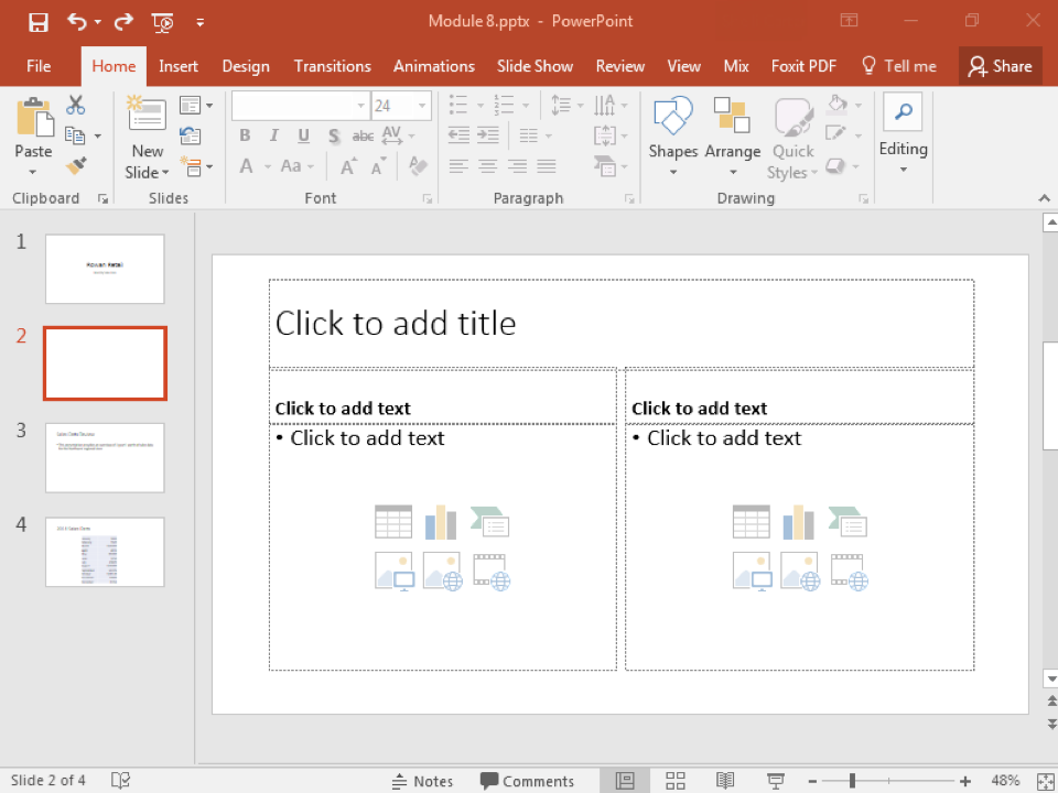 A Microsoft Powerpoint deck is open with 4 slides created. It is specifically on the second slide which has been newly inserted and is currently blank.
