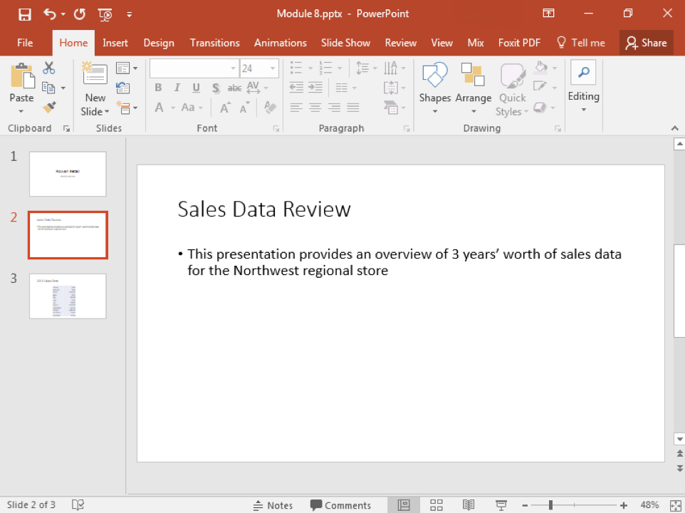 A Microsoft Powerpoint deck is open with 4 slides created. The second slide has now been deleted meaning there is only 3 slides now.