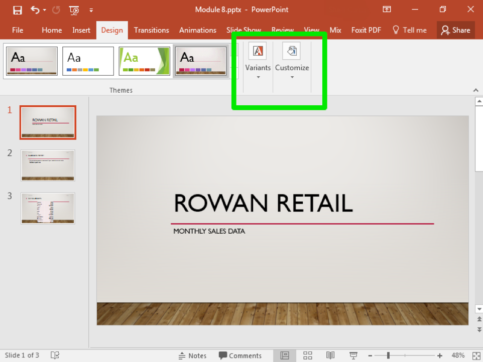 A Microsoft Powerpoint deck is open with 3 slides created. A new design feature has been added making the slide deck more visually appealing. A green box shows how to adjust the variants and how to customize the page.