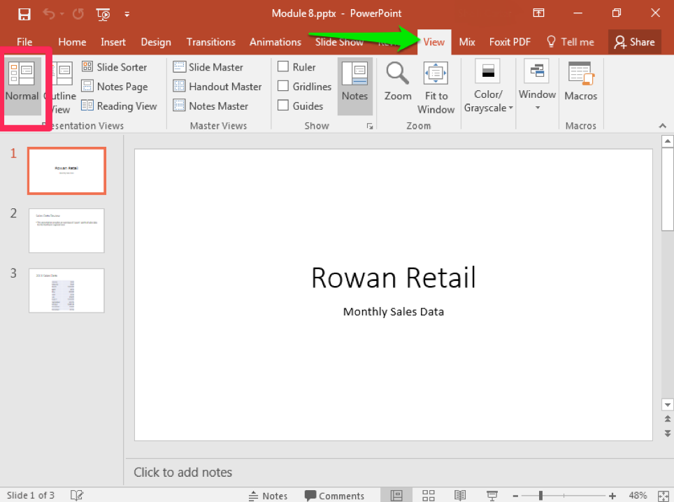 A Microsoft Powerpoint deck is open with 3 slides created. There is a green arrow pointing to the view tab in the ribbon menu.