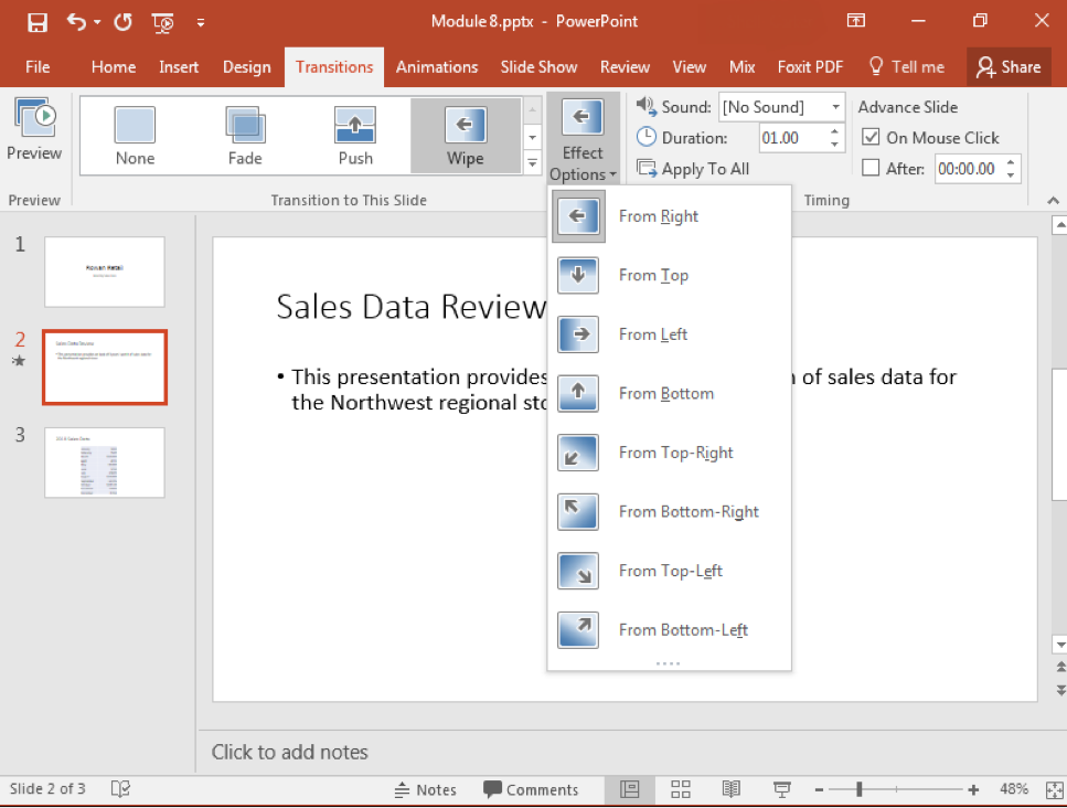 A Microsoft Powerpoint deck is open with 3 slides created. A dropdown menu from the effect options in the transitions tab on the ribbon menu has appeared.