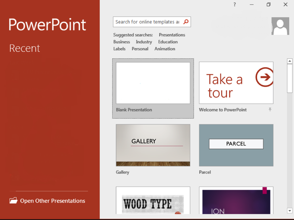 The backstage view of a Microsoft Powerpoint.