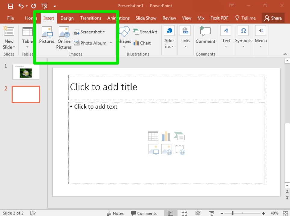 A Microsoft Powerpoint is open with two slides. The second slide has been selected. There is a green box in the ribbon menu highlighting where the insert feature is.