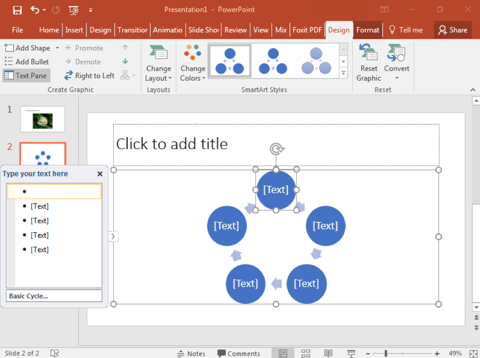 A Microsoft Powerpoint is open with two slides. The second slide has been selected and a smart art cycle has been inserted.