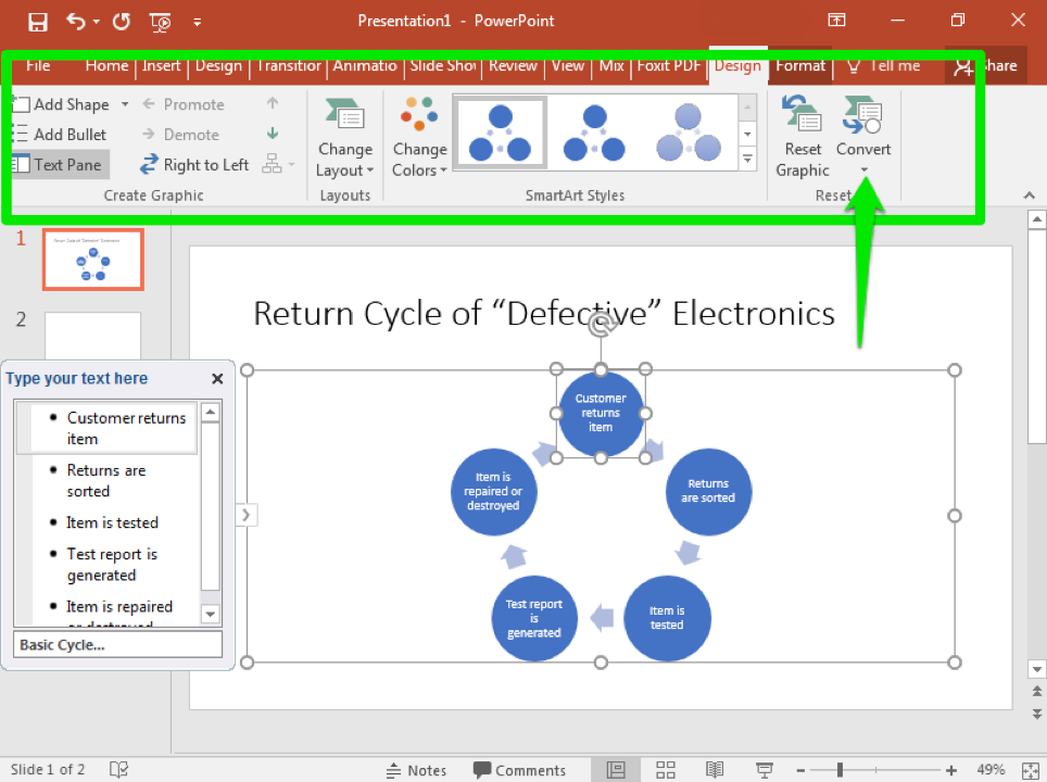 A Microsoft Powerpoint is open with two slides. The second slide has been selected and a smart art cycle has been inserted. A text box to the left has opened allowing access to change the content inside the cycle. A green box in the ribbon has appeared highlighting the design tab in the menu. A green arrow is pointing to the convert button making the cycle become static.