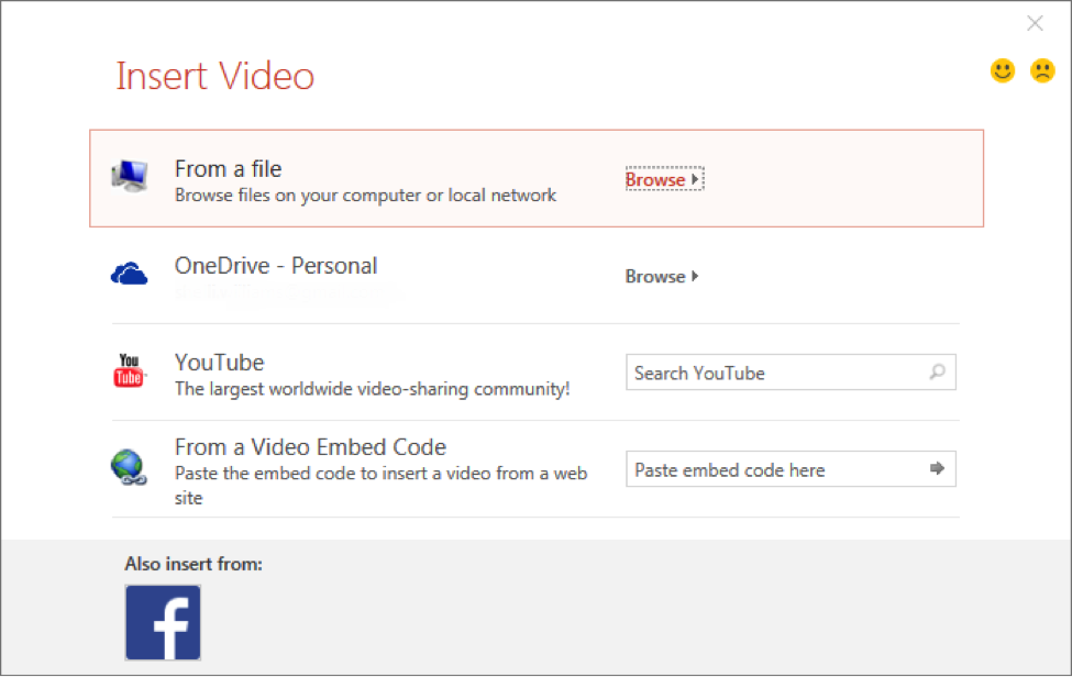 A basic pictures videos folder has opened showing options on where to upload a video from.