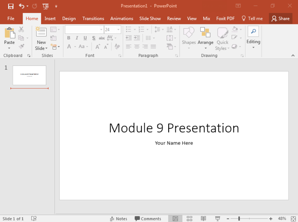 A blank Microsoft Powerpoint is displayed.