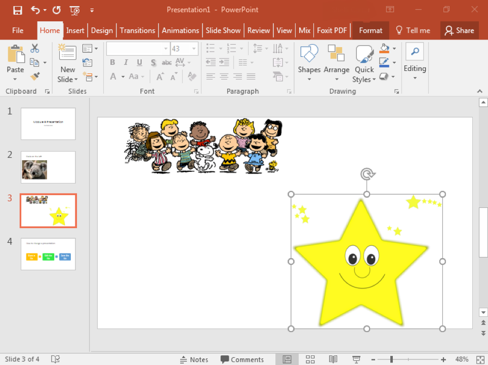 A Microsoft Powerpoint is open with 4 slides displayed. On the third slide two clip art images have been inserted. There is an image of Charlie Brown and friends in the top right of the slide and a smiling yellow star on the bottom right.
