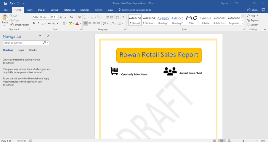 A Microsoft Word document is open with a sales report displayed. The navigation menu has been opened up to the left of the content.