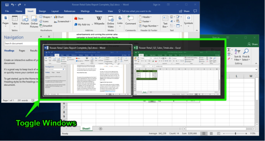A Microsoft Word document is open with a sales report displayed. The navigation menu has been opened up to the left of the content. An excel sheet with data entered is open in front of the word document. A feature to toggle between the two windows has opened up in front of the microsoft excel sheet and word document.