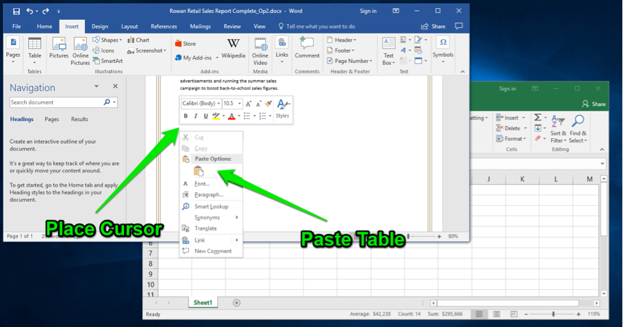 excel table in word document computer applications for