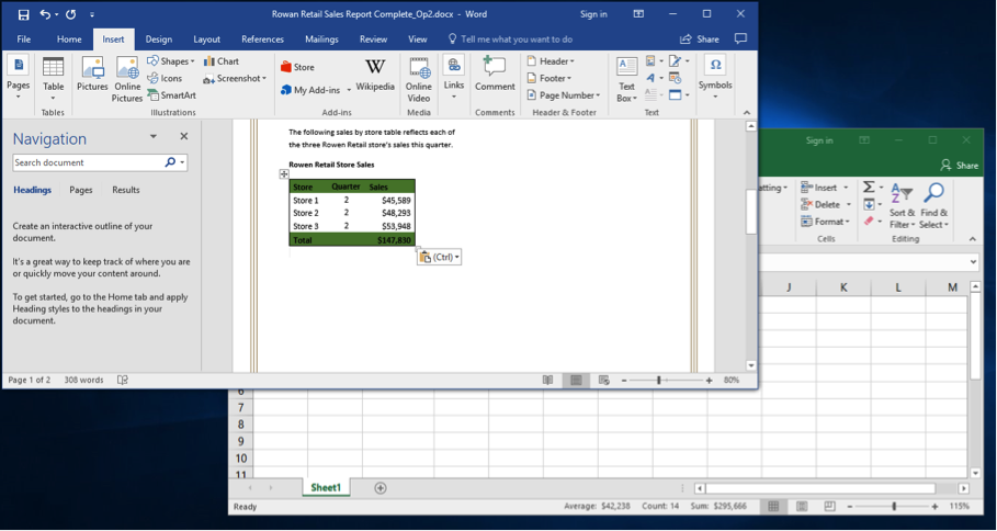 A Microsoft Word document is open with a sales report displayed. The navigation menu has been opened up to the left of the content. An excel sheet with data entered is open behind of the word document. An excel sheet has been pasted into the word document.