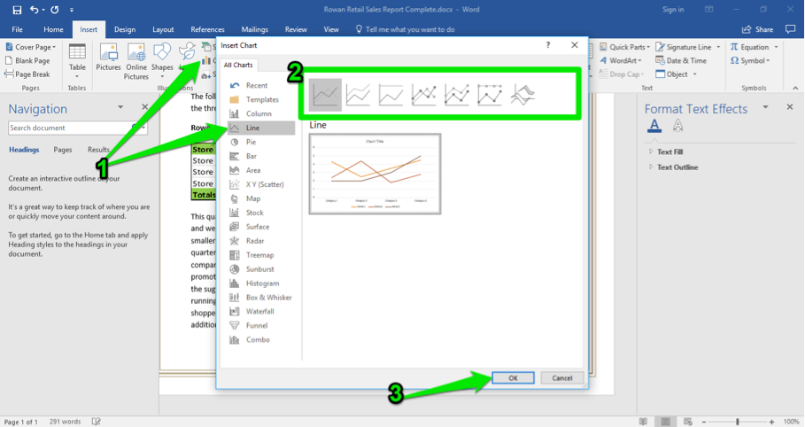 A Microsoft Word document is open with a sales report displayed. The navigation menu has been opened up to the left of the content. A green arrow points at a new insert chart pop up menu. A second green arrow is pointing at the option to insert a line chart and a third arrow is pointing at the ok button.
