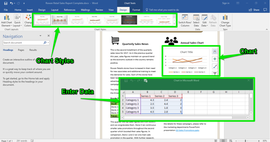 A Microsoft Word document is open with a sales report displayed. The navigation menu has been opened up to the left of the content. There are three green arrows, the first one is pointing at the chart styles, the second is pointing at a newly inserted chart, and the third is pointing at where to enter the data.