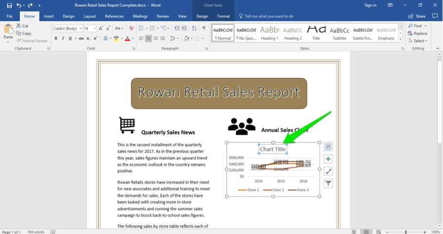 A Microsoft Word document is open with a sales report displayed. A green arrow is pointing at the chart title of the newly inserted chart.