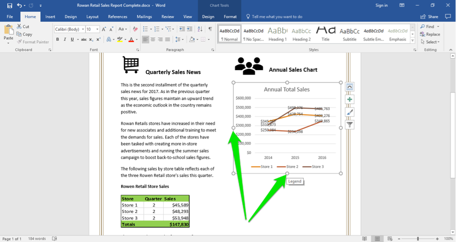 A Microsoft Word document is open with a sales report displayed. There are two green arrows pointing at the bottom and left of the chart that has been inserted on the line chart. These two arrows point out how to resize the chart.