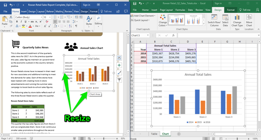 A Microsoft Word document is open with a sales report displayed. An excel sheet with data entered is open to the right of the word document. Two green arrows are pointing at the bottom and left of the newly pasted excel chart in the word document, they are showing how to resize the chart.