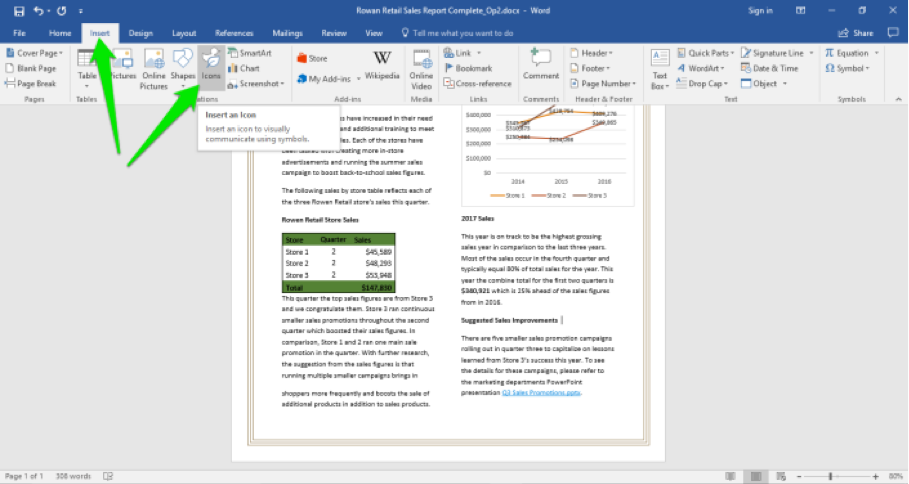 A Microsoft Word document is open with a sales report displayed. There are two green arrows displayed, one is pointing at the insert tab in the ribbon menu and the other is pointing at the icon dropdown menu.
