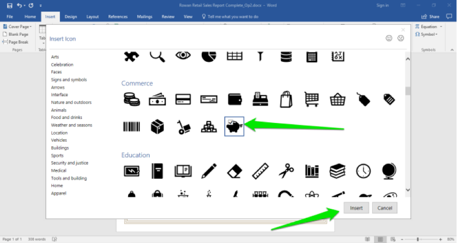 A Microsoft Word document is open with a sales report displayed. A insert icon box has opened up. There are two green arrows, the first is pointing at the selected icon and the second at the insert button.
