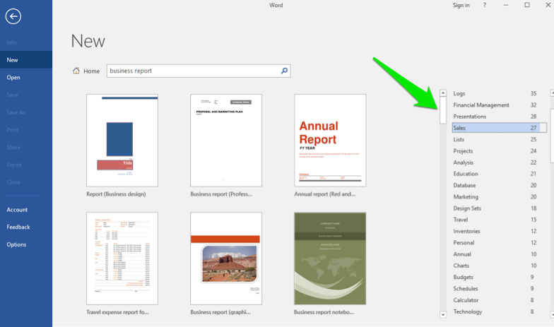 A Microsoft Word document backstage view is open. A green arrow is pointing at a menu where specific templates under the broader search can be found.