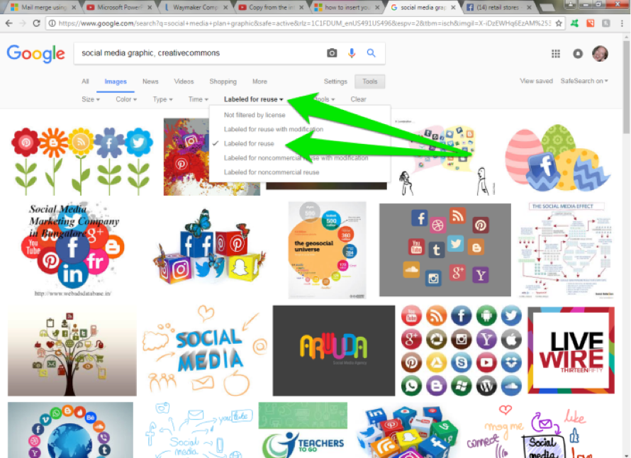 A google image search has been performed for, social media graphic with a creative commons license. Two green arrows show where to modify the search by adding in a labeled for reuse feature.