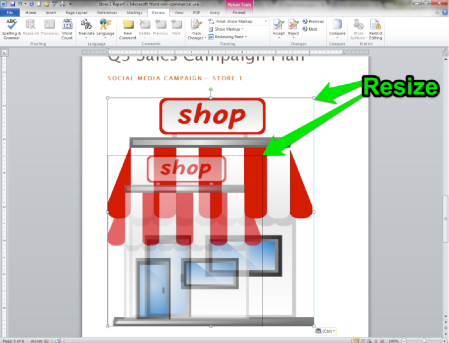 A Microsoft Word document is open with an image of a cartoon shop being displayed. There is a green arrow showing how to resize the newly inserted image.