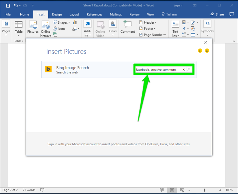 A Microsoft Word document is open. An insert pictures dialog box has been opened showing that a search for Facebook creative commons has been entered.