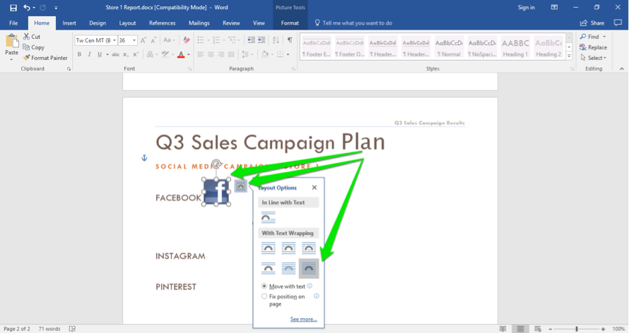 A Microsoft Word document is open. A Facebook logo has been inserted. There are three green arrows showing how to wrap the image within the text.