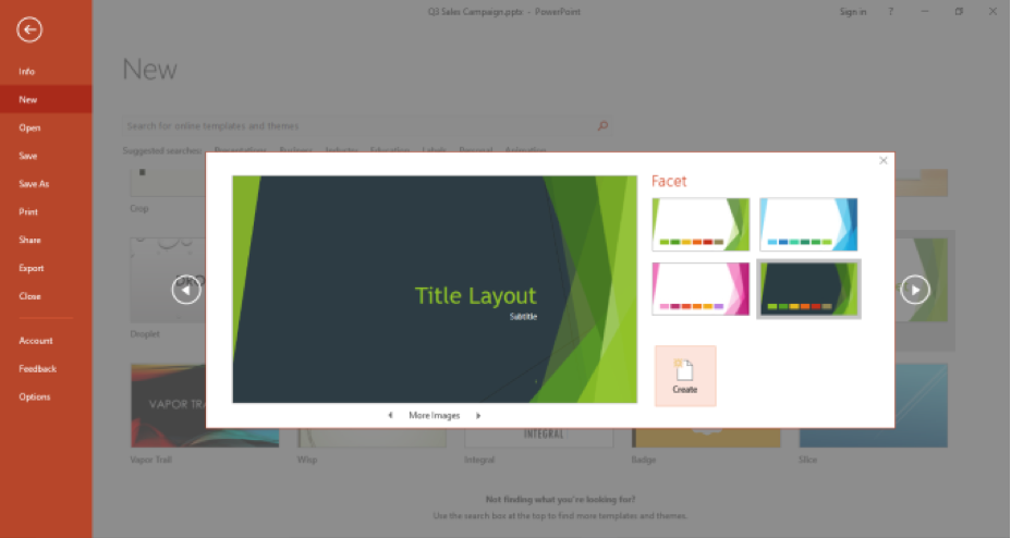 A Microsoft Powerpoint is open and is displaying the template that has been selected to create a new powerpoint.