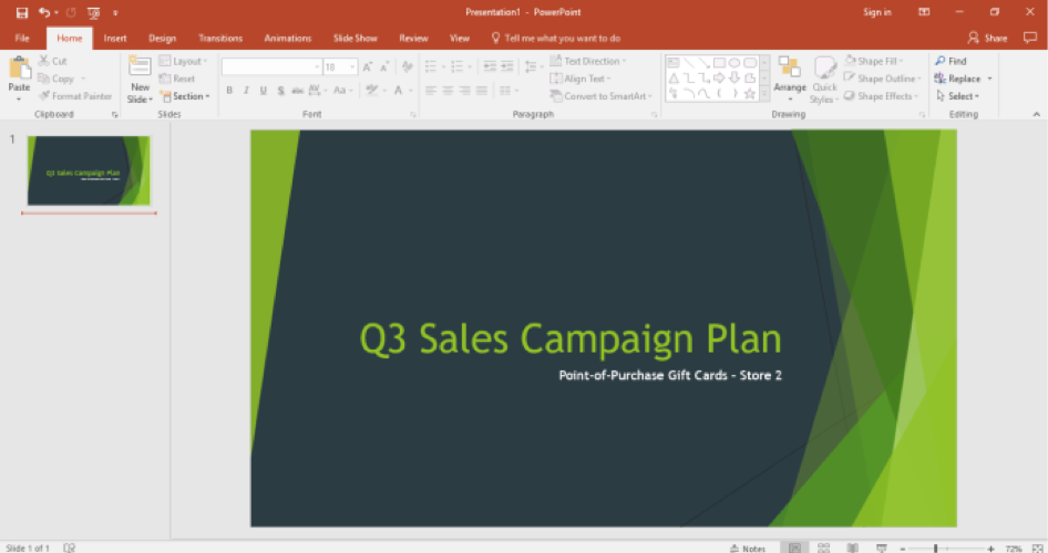 A Microsoft Powerpoint is open for a sales campaign.