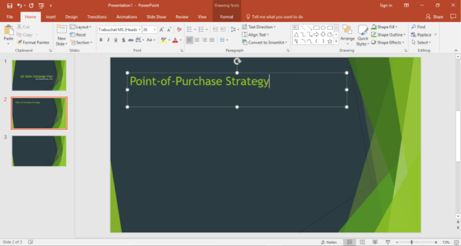 A Microsoft Powerpoint is open for a sales campaign. It is on the second slide of the powerpoint and a title has been entered.