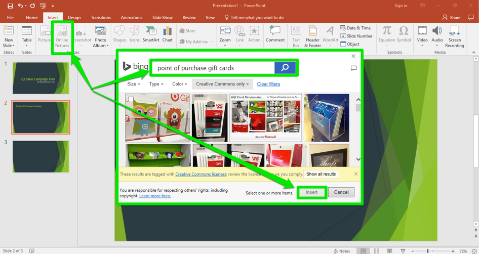 A Microsoft Powerpoint is open for a sales campaign. It is on the second slide of the powerpoint. A bing search for point of purchase gifts has been entered and is displayed in front of the powerpoint.