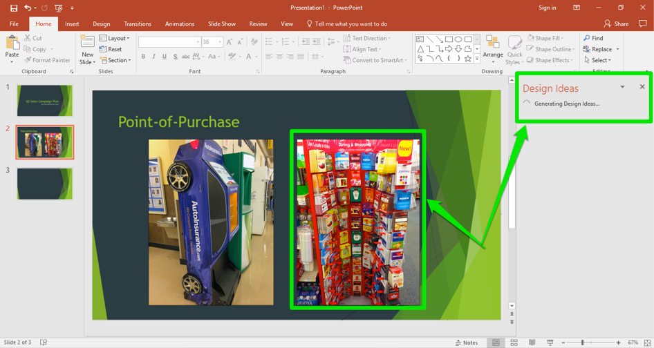 A Microsoft Powerpoint is open for a sales campaign. It is on the second slide of the powerpoint and two images stand next to one another. Two green arrows show that a design idea has been entered on this slide.