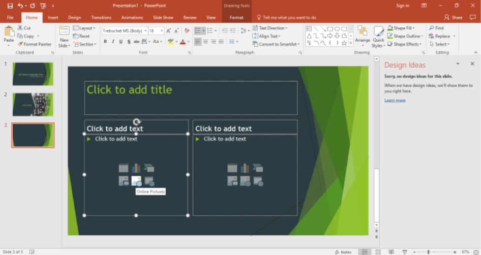 A Microsoft Powerpoint is open for a sales campaign. It is on the third slide of the powerpoint