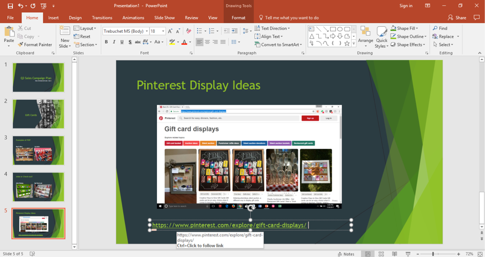 A Microsoft Powerpoint is open for a sales campaign. It is on the fourth slide of the powerpoint and a screenshot of the pinterest search is displayed on the slide as well as the link to the page.