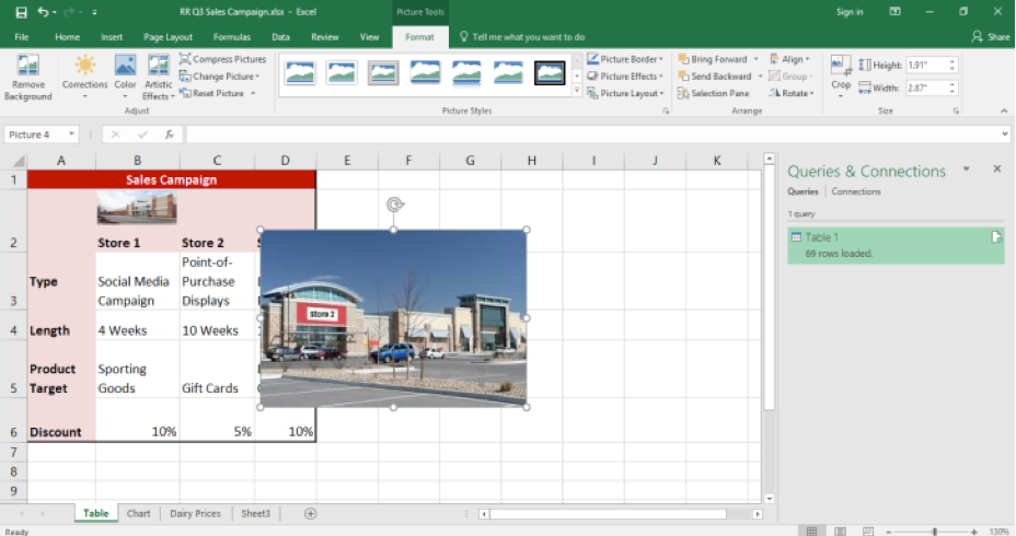 A Microsoft Excel sheet for a sales campaign is displayed in the cells. An image of a store has been inserted over the excel sheet.