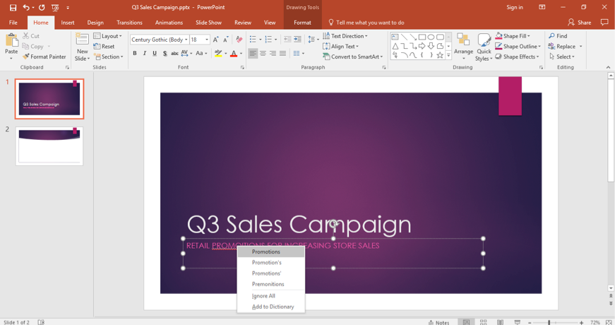 A Microsoft Powerpoint for a sales campaign is displayed. A word has been misspelled in the subtitle section so a dropdown menu has opened up showing possible solutions.