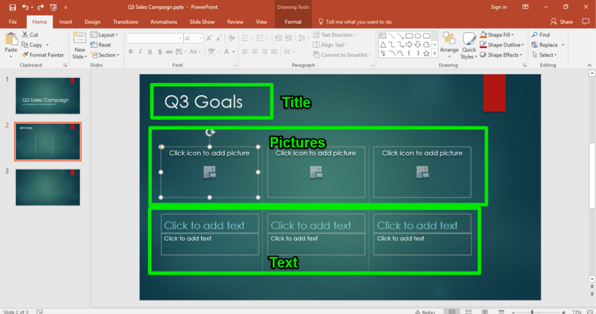 A Microsoft Powerpoint for a sales campaign is displayed. A new slide has opened up. Three green boxes highlight the new features of the slide. The top box shows where the title goes, the middle box shows where to insert pictures into the powerpoint, and the third shows where to insert text.