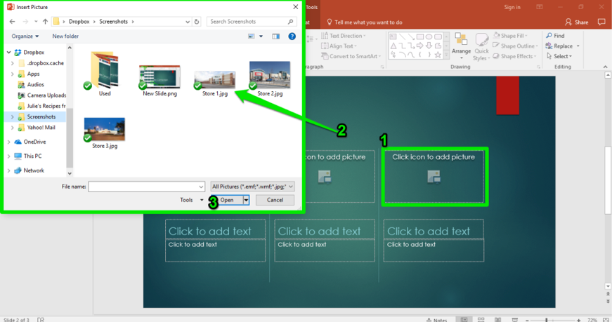 A Microsoft Powerpoint for a sales campaign is displayed. There are two green boxes showing where to insert a picture and the finder menu showing the pictures that have been stored on the computer.