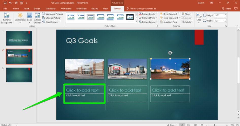 A Microsoft Powerpoint for a sales campaign is displayed. A green box shows where to insert text.