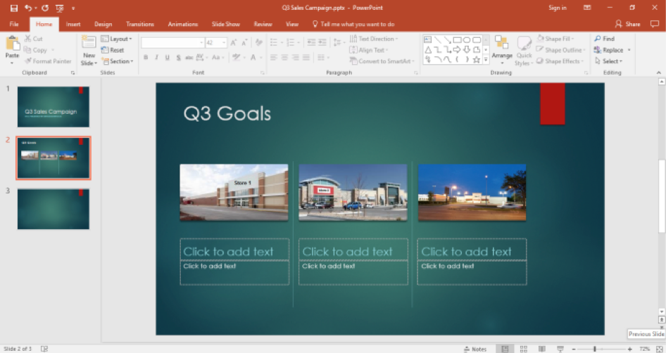 A Microsoft Powerpoint for a sales campaign is displayed with the title of Q3 goals, there are three pictures in this slide.