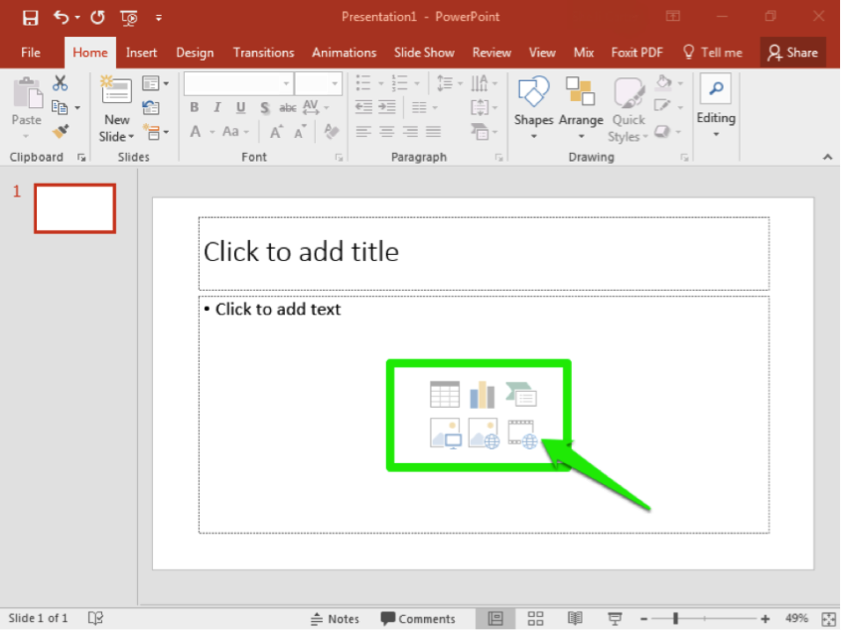 A Microsoft powerpoint is open. There is a green arrow pointing at a blank slide where the option to insert a video can be found.
