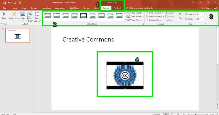 A Microsoft powerpoint is open. A video has been inserted and there are 4 green numbers showing how to edit the video. The first number shows where the video tools button is, the second shows where the video styles feature is. The third shows where the resizing tool can be found and the fourth number represents how you can simply resize the image by dragging it.