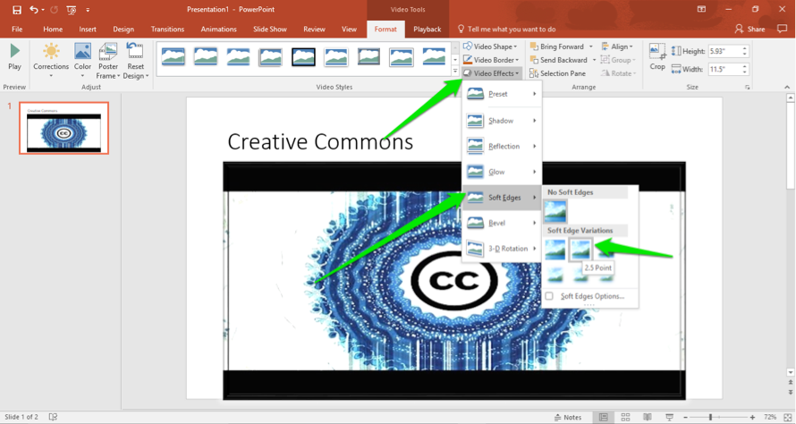 A Microsoft powerpoint is open. A video has been inserted and there are three green arrows pointing out how to make adjustments. The first arrow points at the video effects dropdown menu, the second points at the option to create a soft edge for the video and the third shows that the soft edge has been set at 2.5.