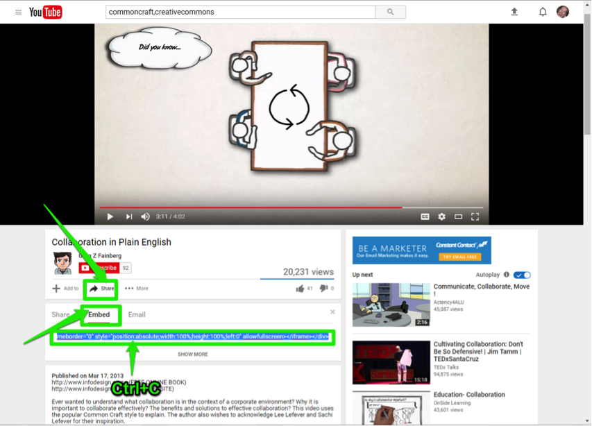 A Youtube video is open. There are three green arrows on the page showing how to share the video. The first arrow is pointing at the share button, the second button is pointing at the option to embed the video and the third shows the link you want to copy to embed the video.