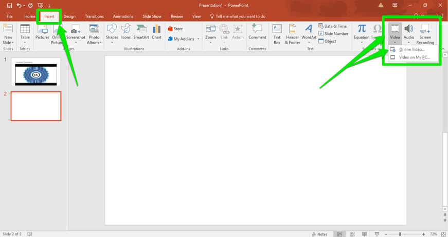 A Microsoft powerpoint is open. There are three green arrows pointing at how to insert a video into the slide. The first arrow is pointing at the insert tab in the ribbon menu, the second is pointing at the video button and the third shows where the online video insert button is.